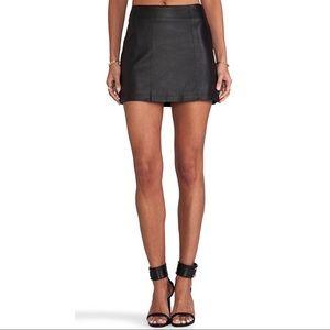 T Alexander Wang Black A Line Leather Mini Skirt